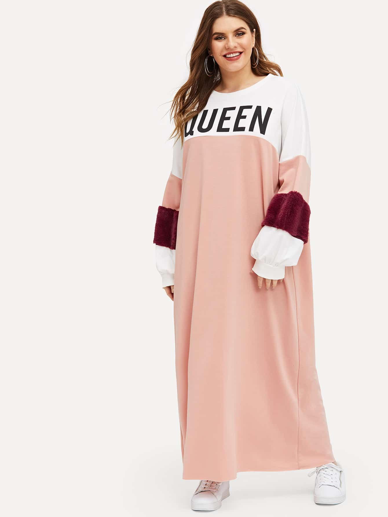 Купить Размер плюс контрастное платье с текстовым принтом, Isabela, SheIn