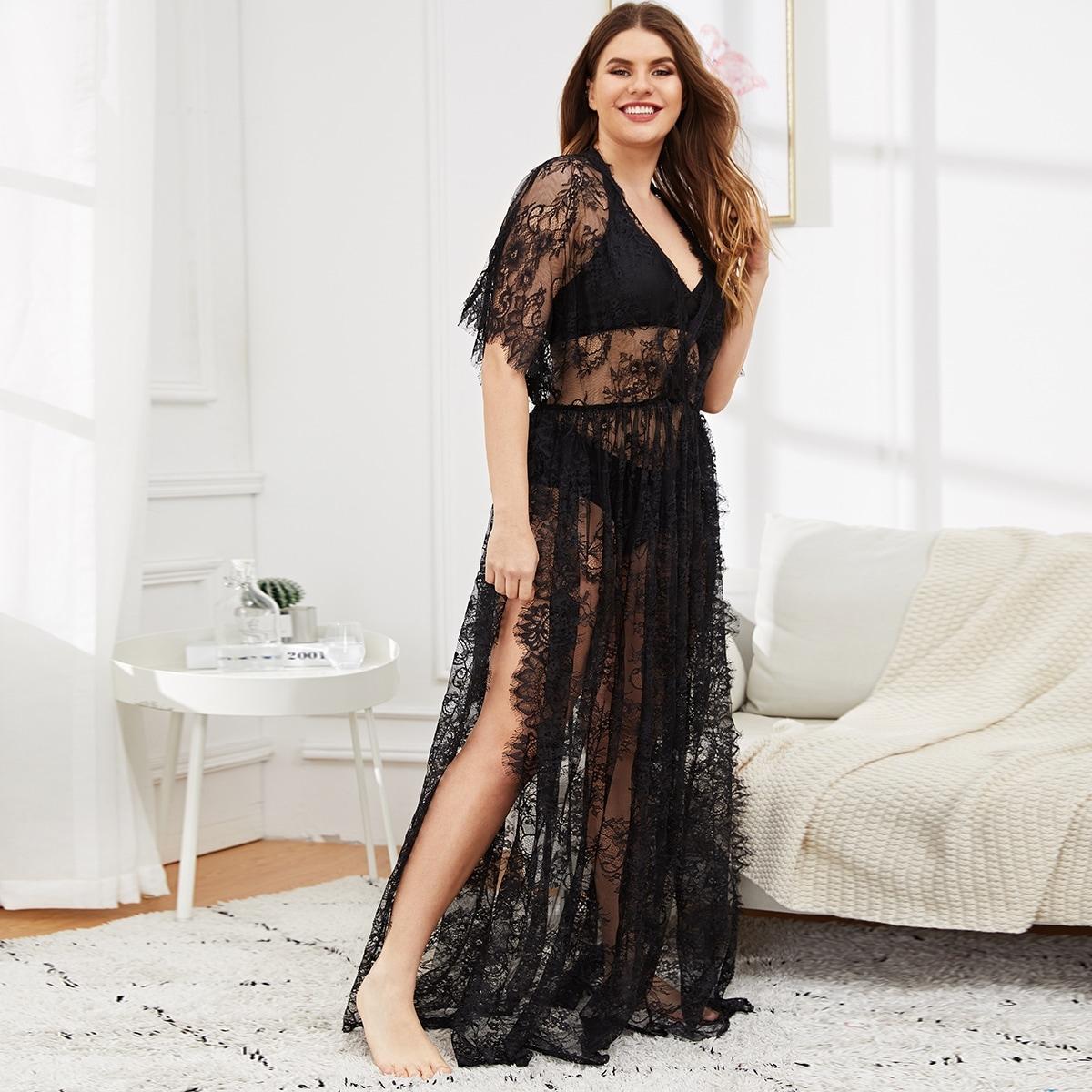 Zwart Sexy Grote maten nachtkleding