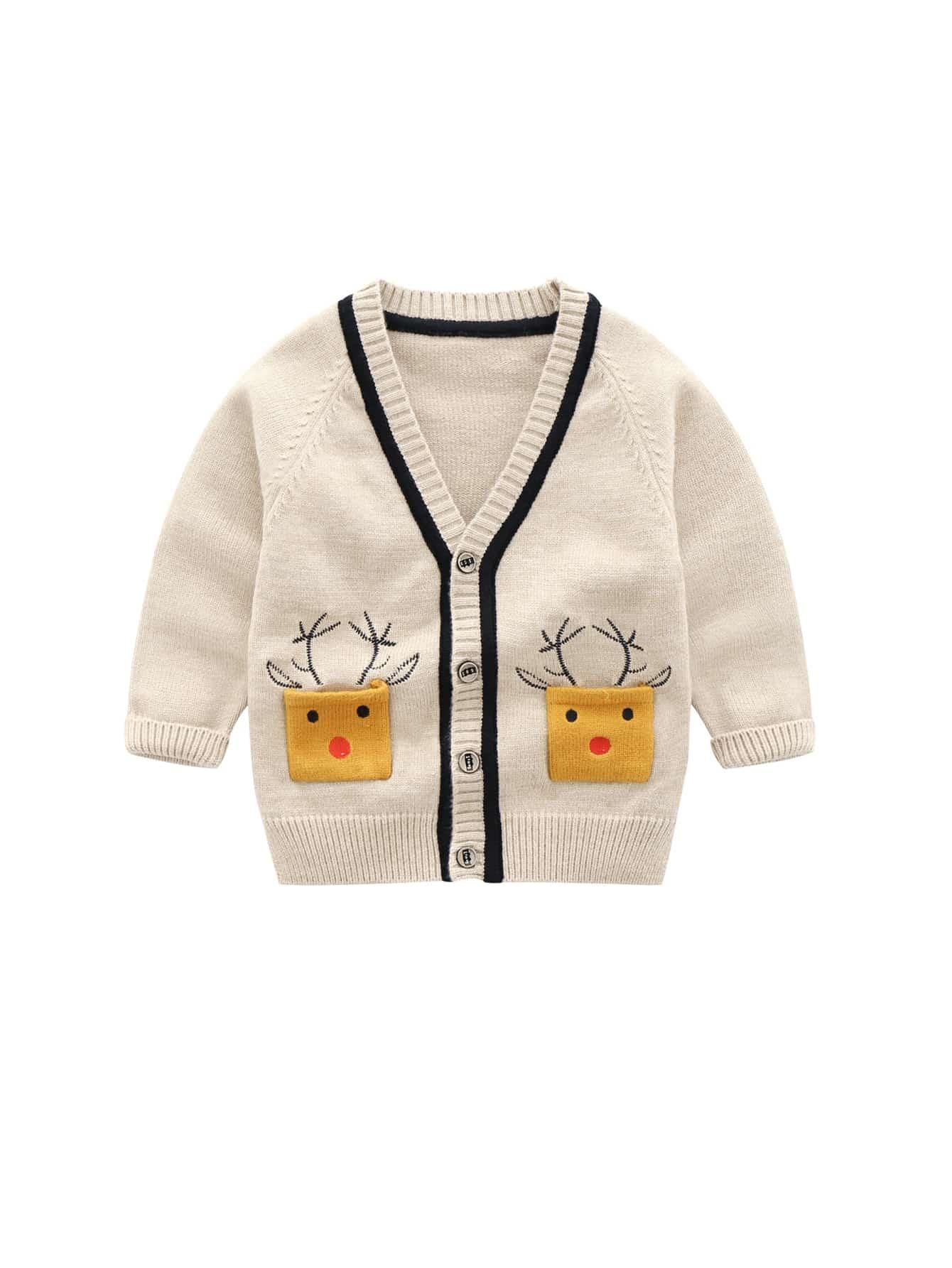 Купить Для маленьких девочек свитер с принтом мультфильма с карманом, null, SheIn