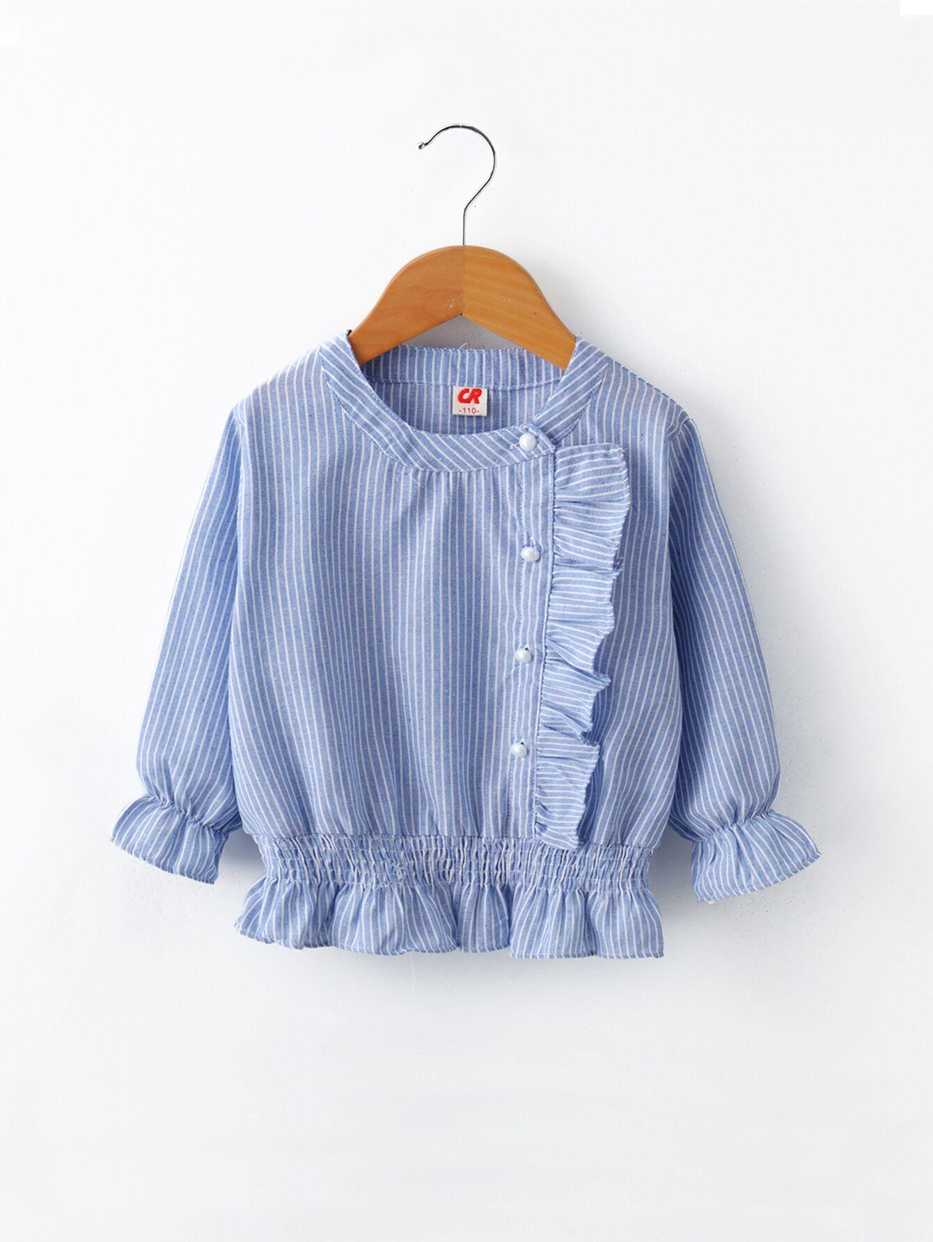 Купить Полосатая блуза с кружевными оборками для маленьких девочек, null, SheIn