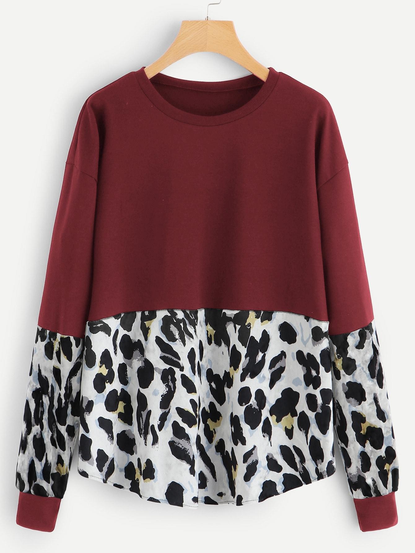 Купить Размера плюс футболка с контрастным леопардовым принтом, null, SheIn