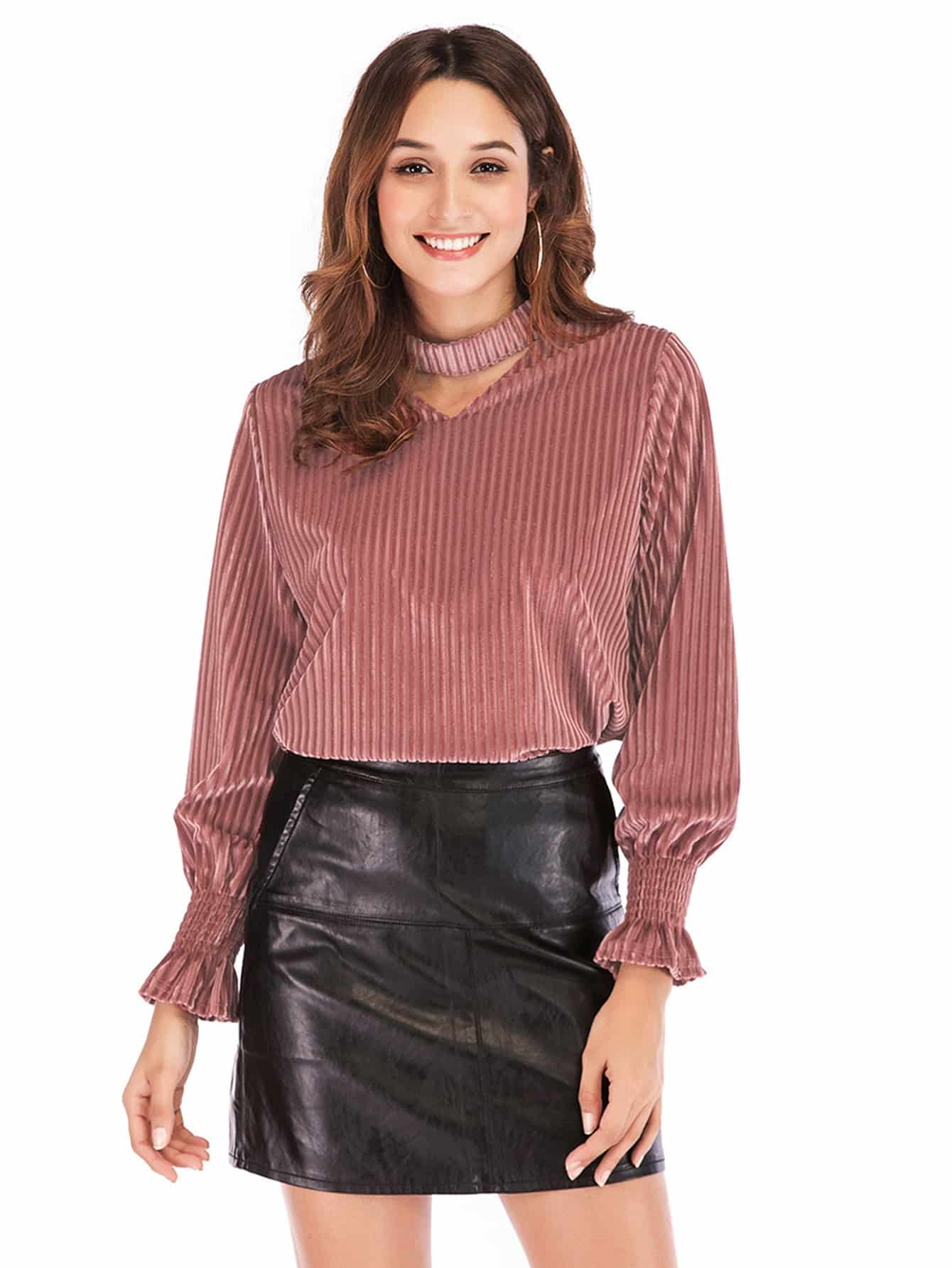 Купить Бархатная блуза с оборками на рукавах и воротником чокер, null, SheIn
