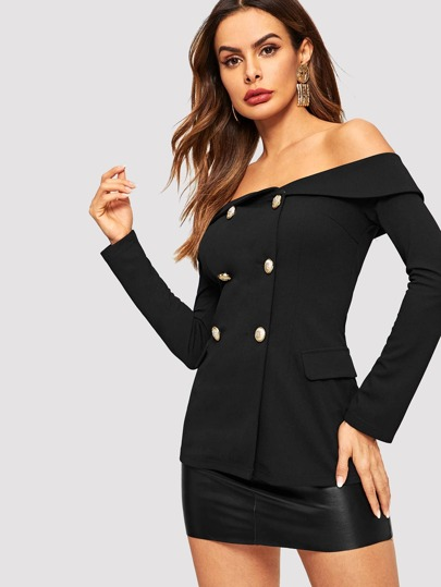 SheIn / Off Shoulder Double Breasted Blazer