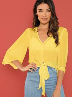 Bell Sleeve Knot Hem Top Without Bra