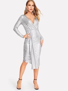 Deep V-Neck Asymmetrical Metallic Bodycon Dress