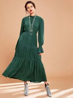 Bell Sleeve Ruffle Hem Solid Dress