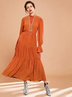 Mock-neck Keyhole Back Flounce Sleeve Dress
