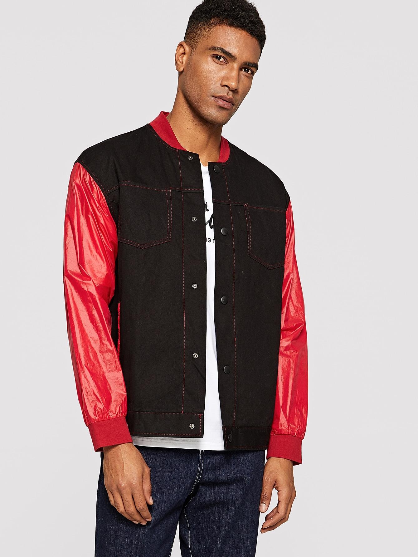 Купить Мужская контрастная куртка с пуговицами и карманом, Johnn Silva, SheIn