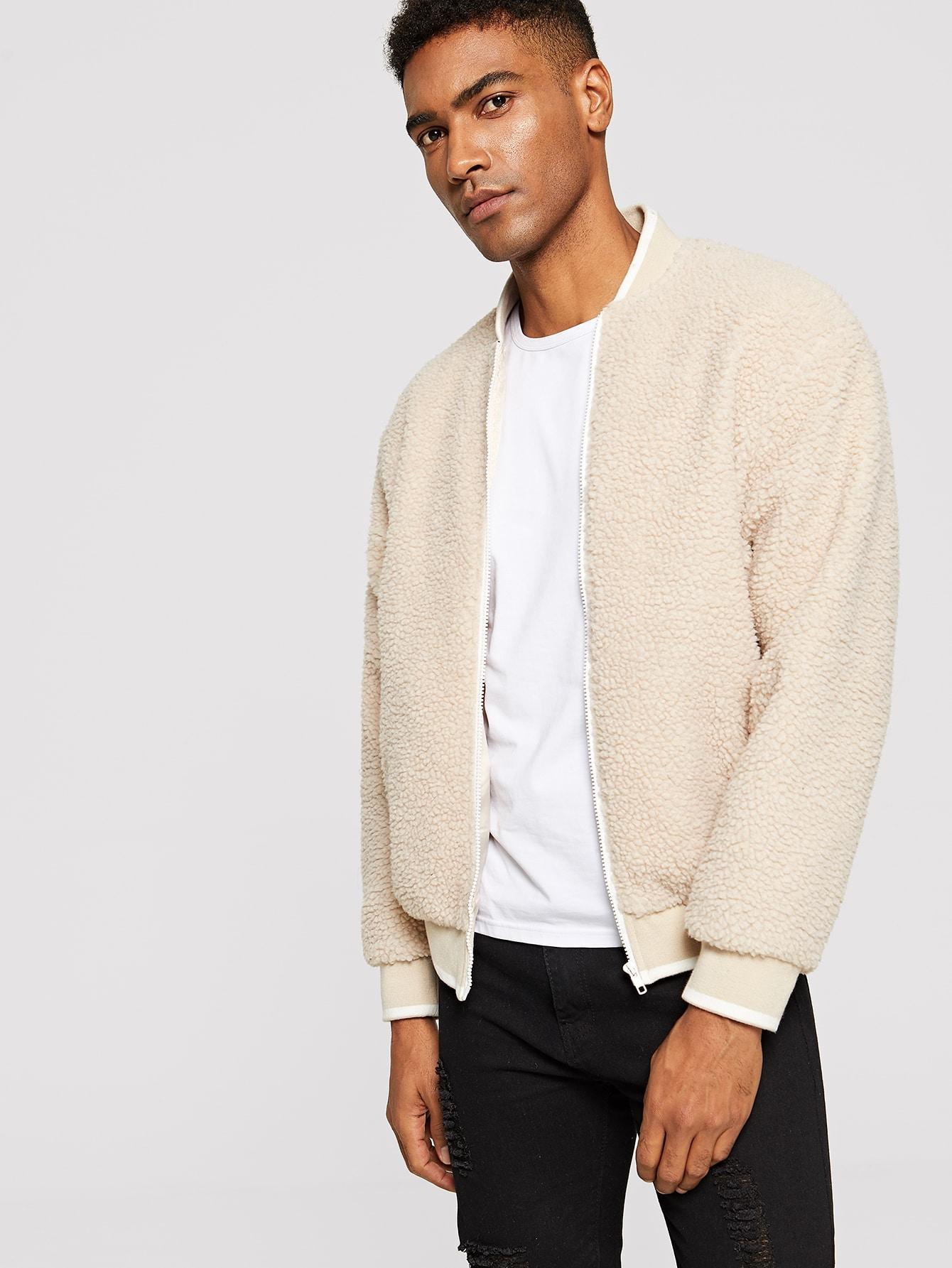 Купить Мужская пушистая куртка с молнией и карманом, Johnn Silva, SheIn