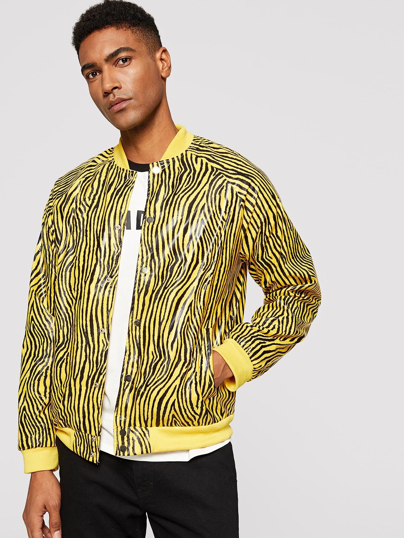 Купить Мужская куртка с принтом зебры и рукавами реглан, Johnn Silva, SheIn