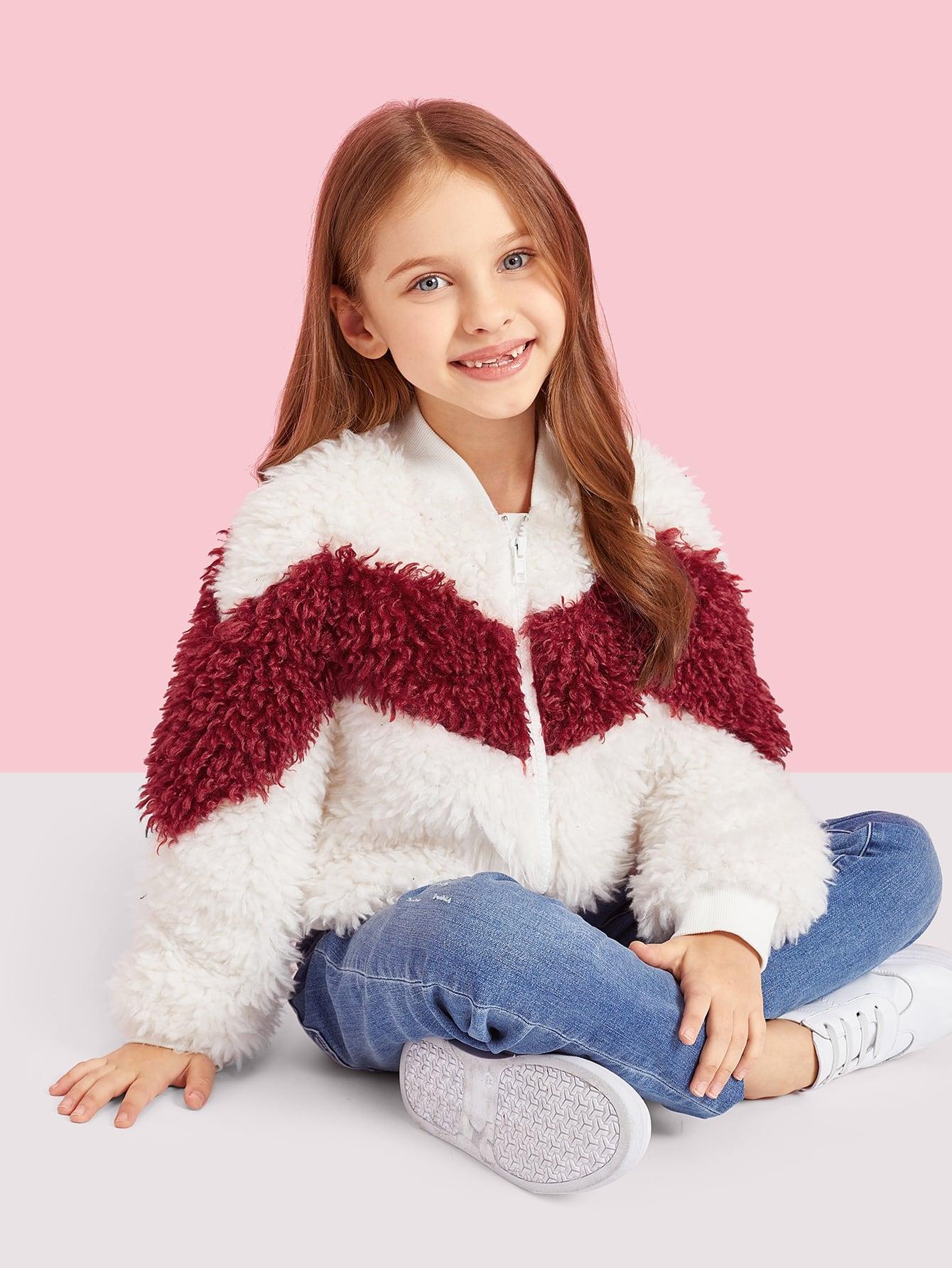 Купить Двухцветная пушистая куртка с молнией для девочек, Anna C, SheIn