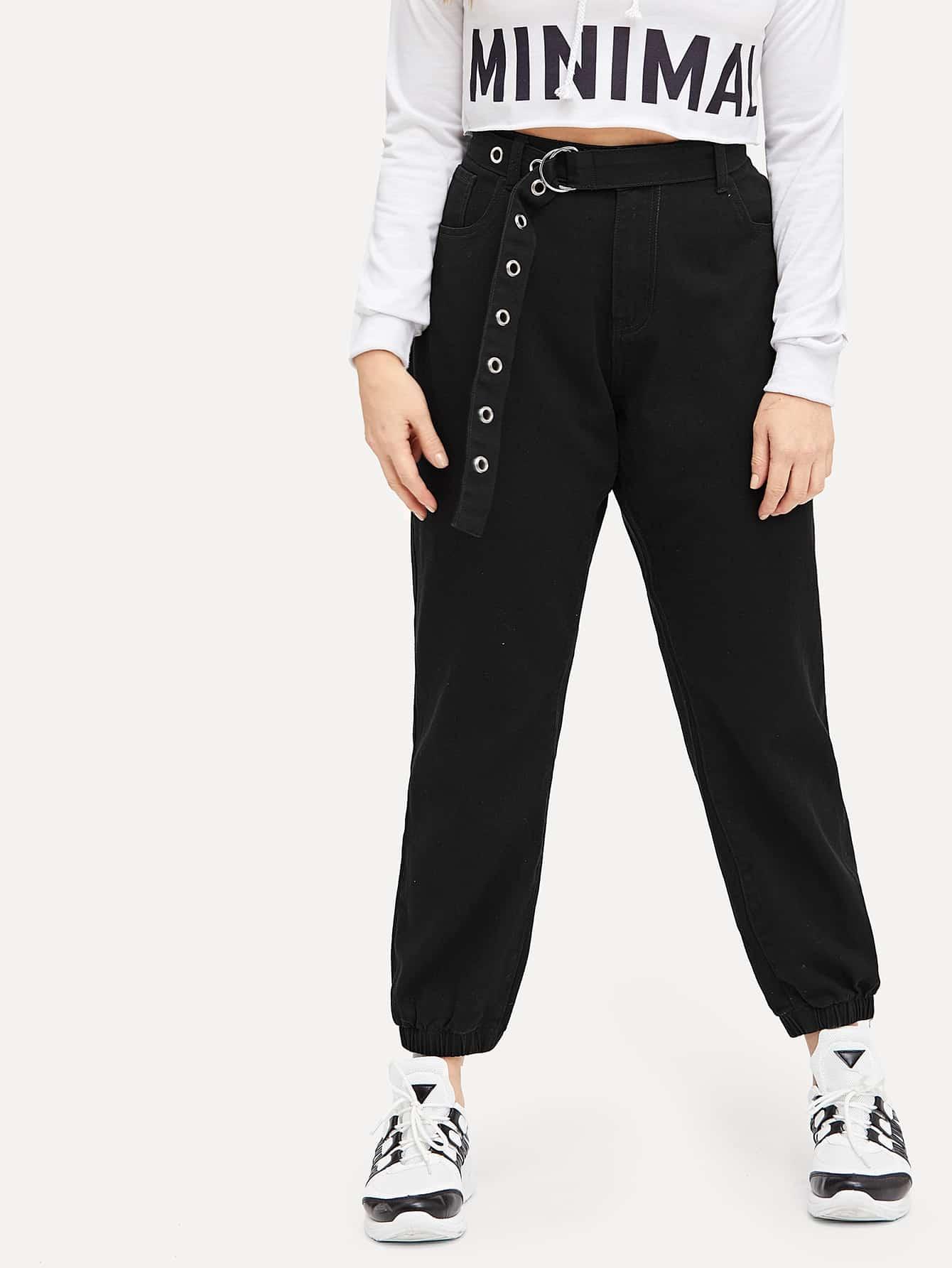 Купить Размер плюс джинсы с поясом и упругой отделкой, Isabela, SheIn