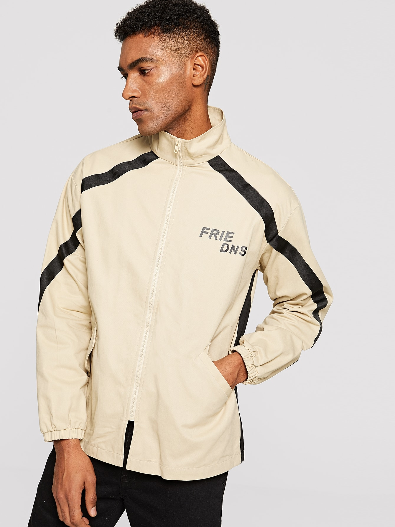 Купить Мужская контрастная куртка с молнией, Johnn Silva, SheIn