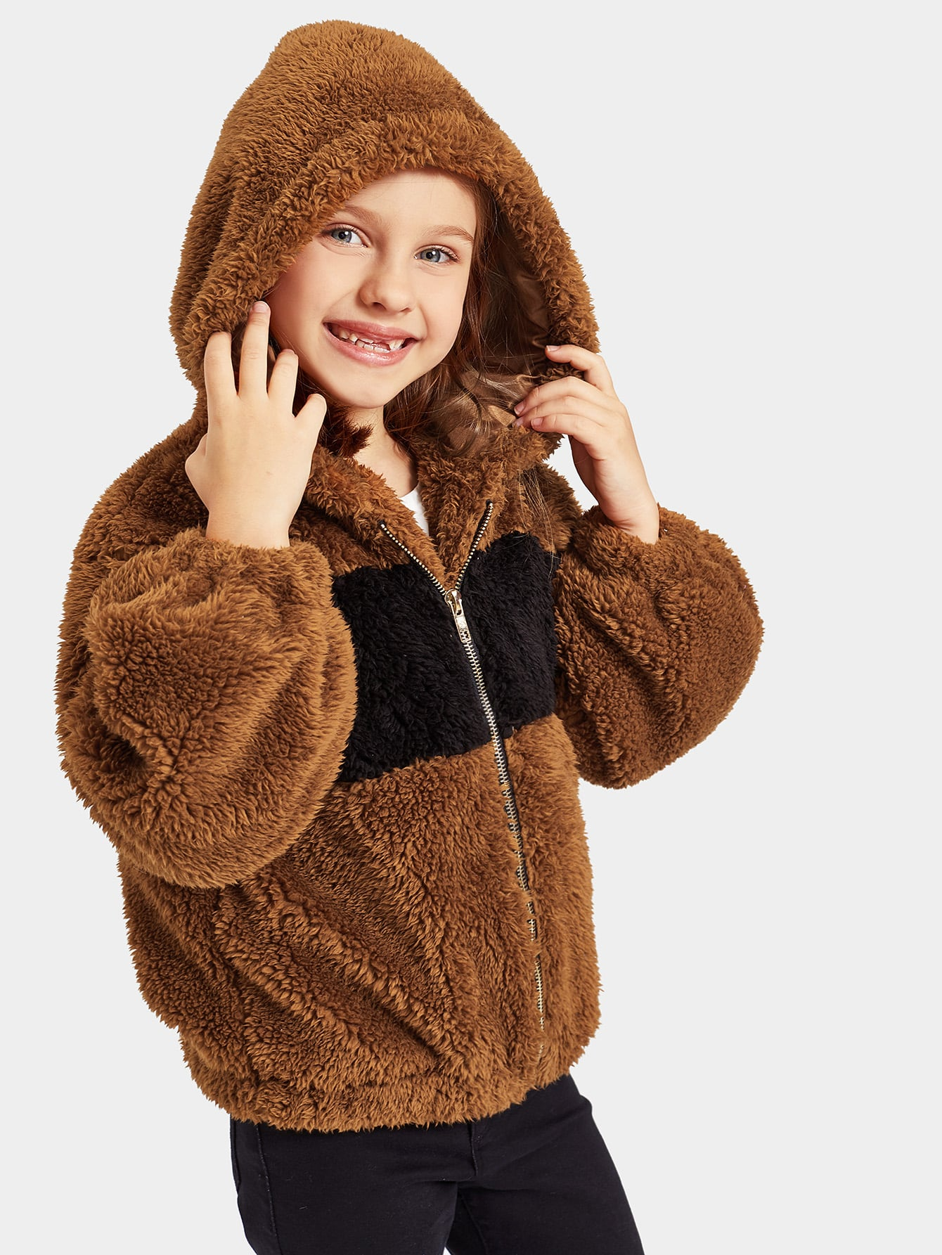 Купить Пушистая куртка с капюшоном на молнии для девочек, Anna C, SheIn