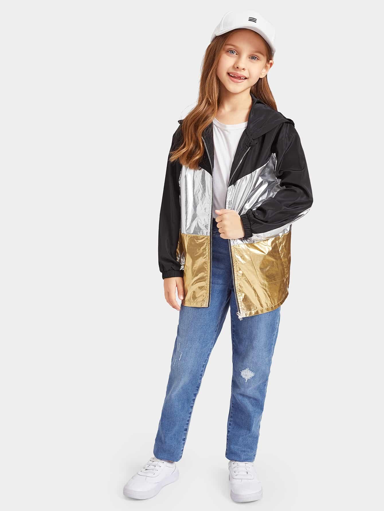 Купить Контрастная металлическая цветная куртка с капюшоном и застёжкой молния для девочек, Anna C, SheIn