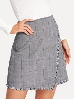 Frayed Trim Overlap Plaid Skirt