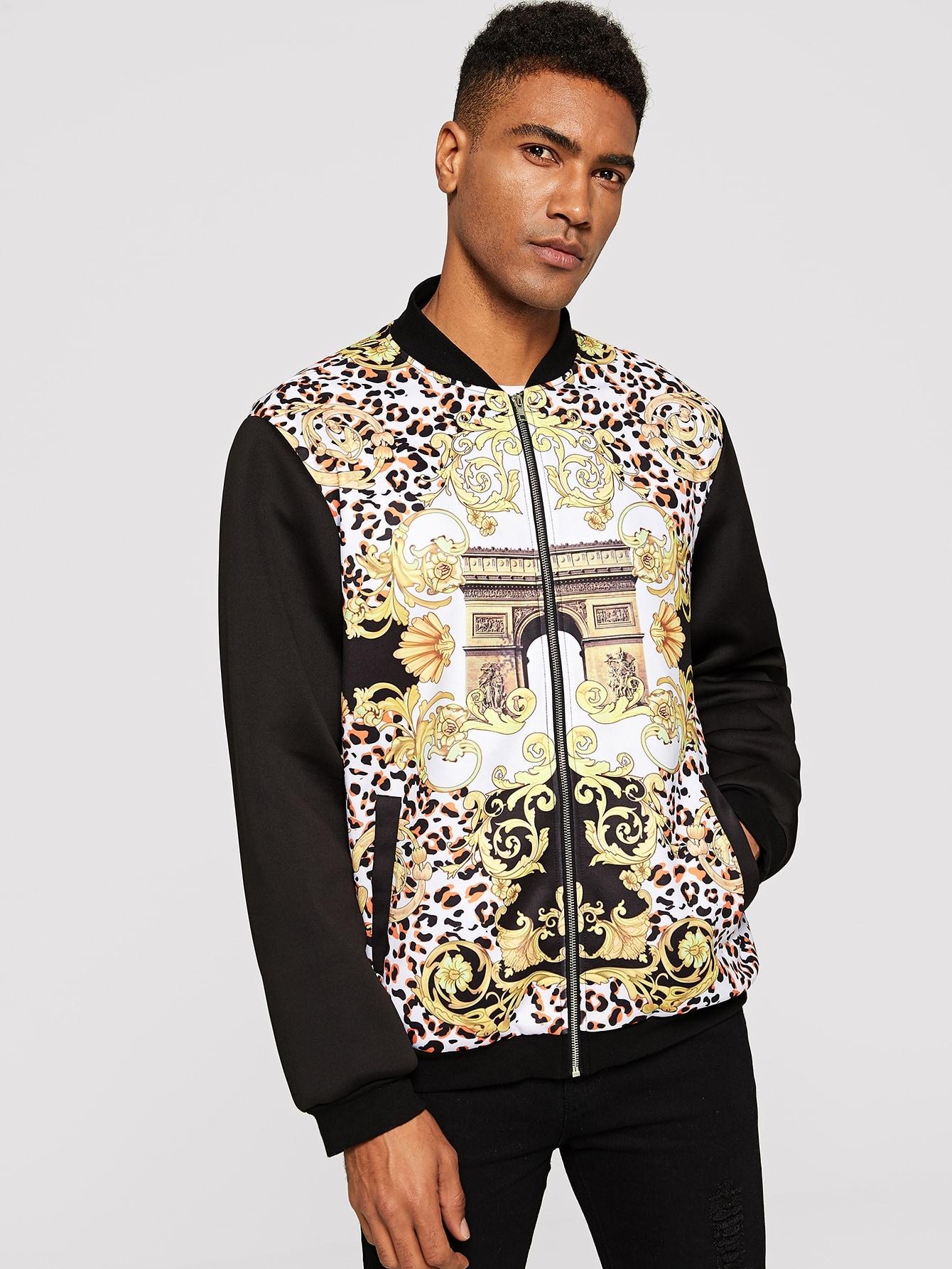 Купить Мужская куртка с графическим принтом и однотонным рукавом, Johnn Silva, SheIn