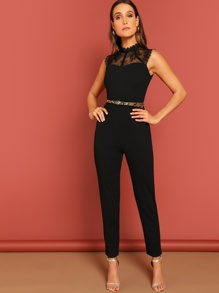 Zip Back Contrast Lace Sleeveless Jumpsuit