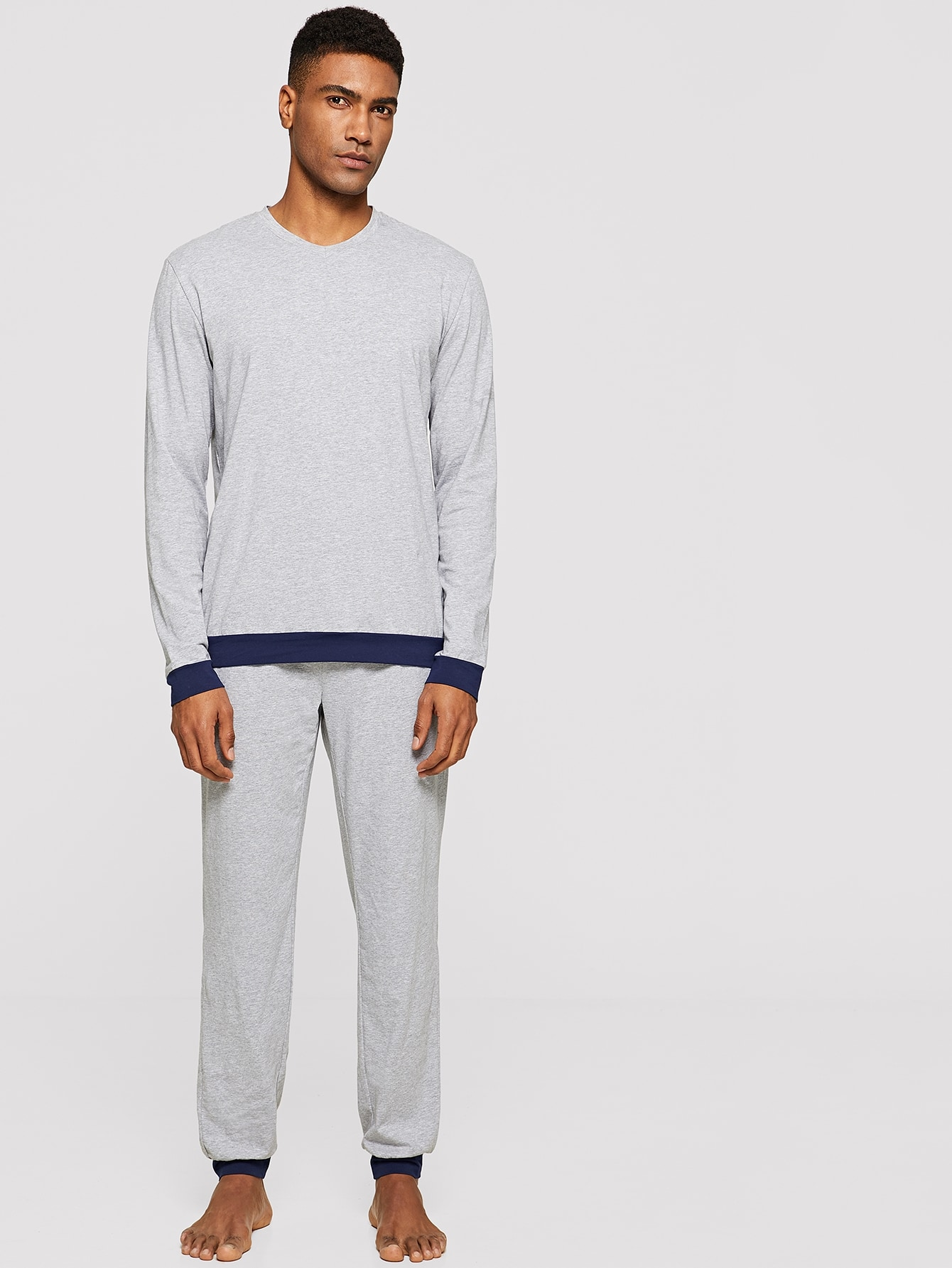Купить Мужской вязаный пуловер с контрастной отделкой и брюки PJ, Johnn Silva, SheIn