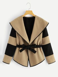 Two-tone Shawl Collar Belted Coat