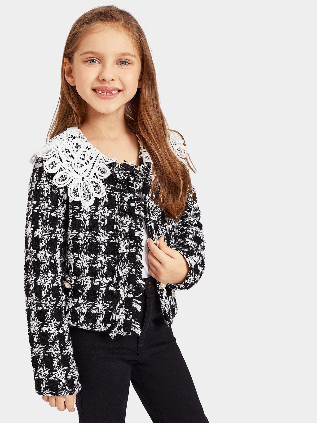 Купить Однобортное твидовое пальто с кружевным воротником для девочек, Anna C, SheIn