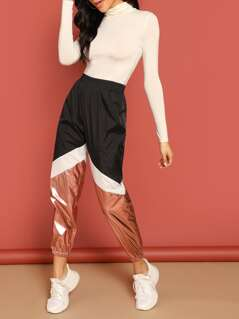 Color-block Contrast Metallic Pants