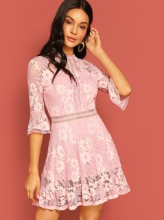 Lace Appliques Bell Sleeve Dress