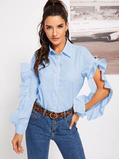 Split Sleeve Ruffle Trim Shirt