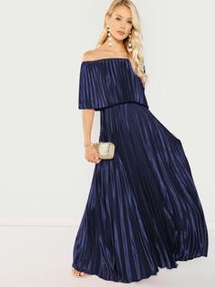 Bardot Pleated Maxi Prom Dress