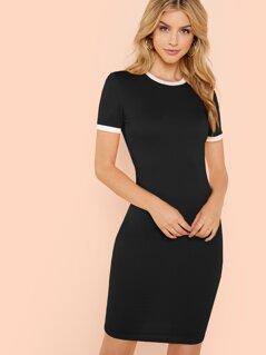 Ringer Bodycon T-Shirt Dress