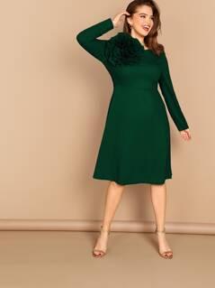 Plus 3D Flower Applique Fit & Flare Dress