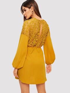 Guipure Lace Slit Back Self Tie Dress
