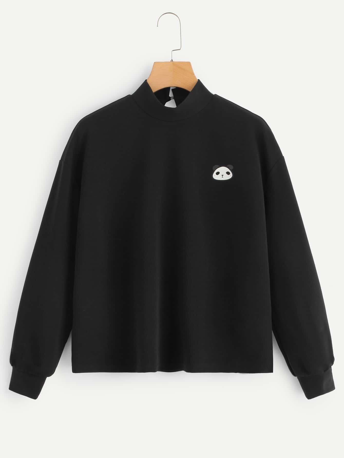 Купить Пуловер с вырезом под горло и принтом панды, null, SheIn