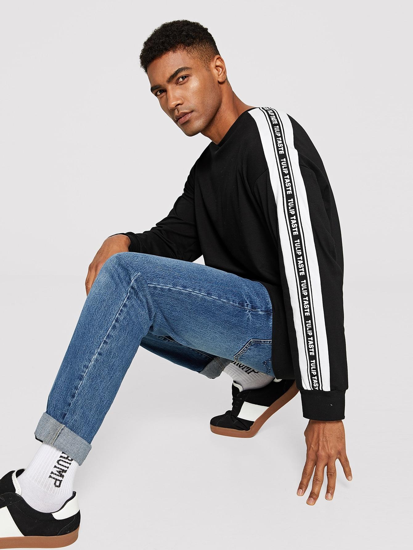 Купить Мужский пуловер с заниженной линией плеч, Johnn Silva, SheIn
