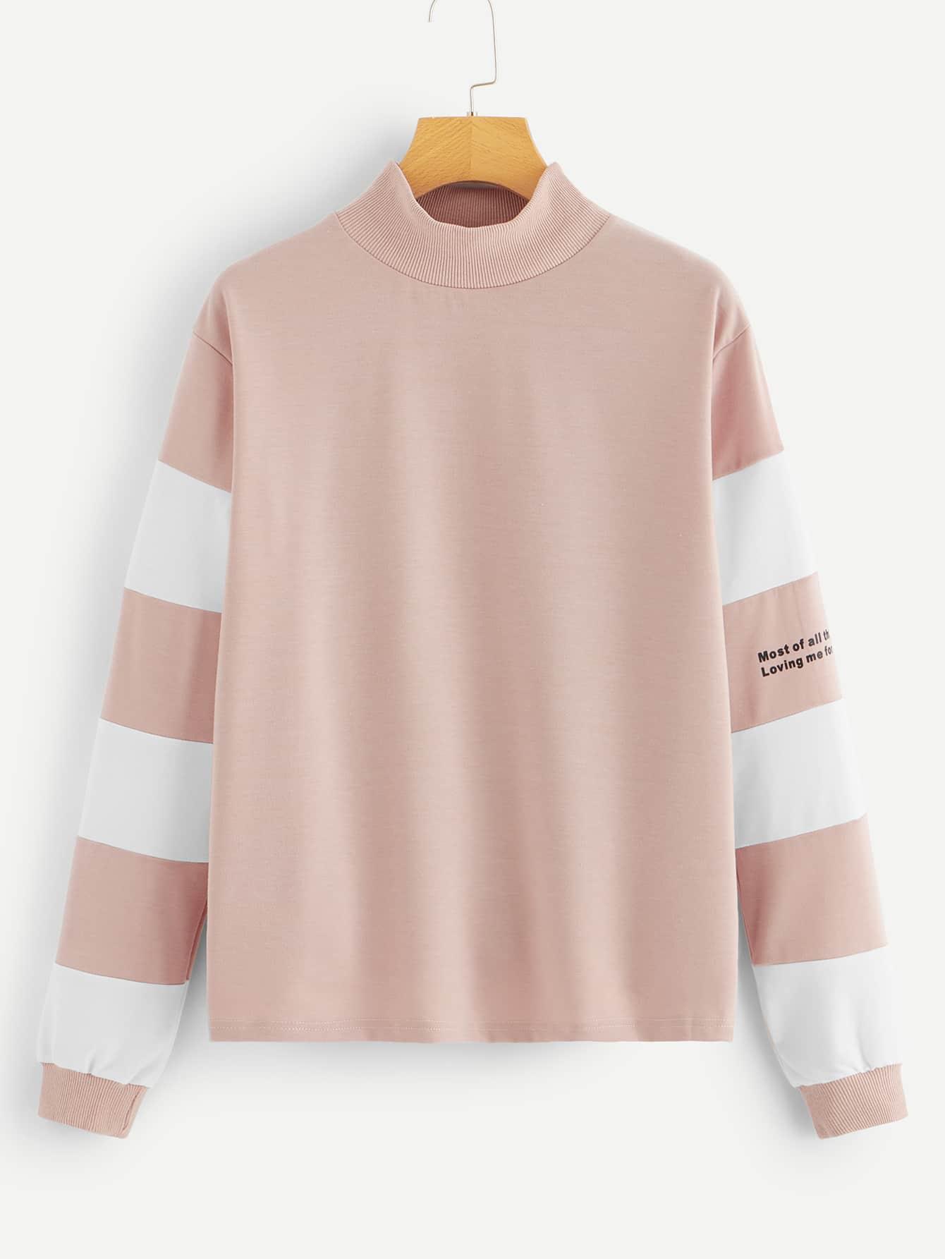 Купить Контрастный пуловер со стоячим воротником, null, SheIn