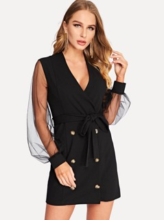 Double Button Sheer Mesh Sleeve Belted Coat