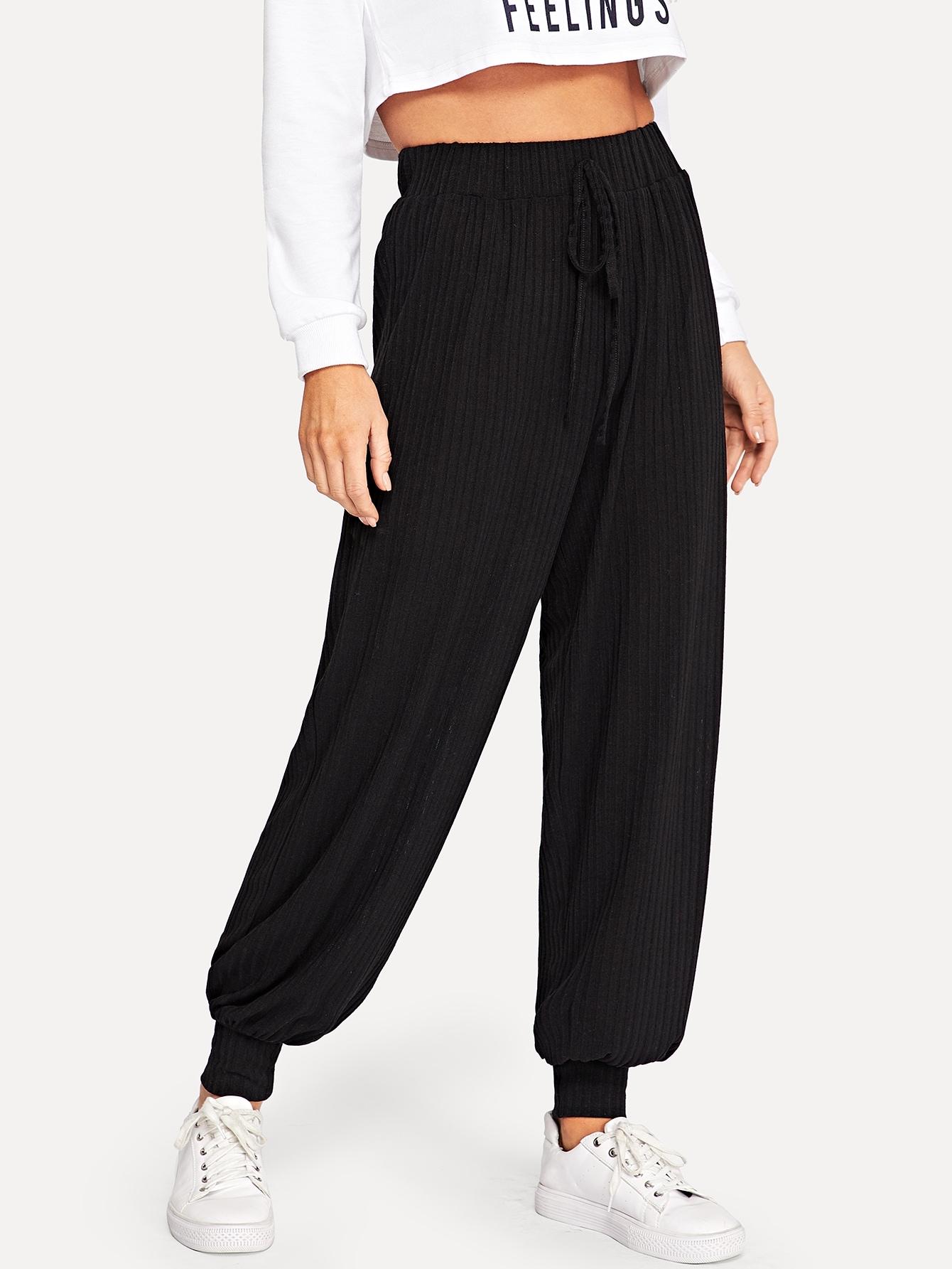 Купить Вязяные ркбристые брюки с поясом, Sasha O, SheIn