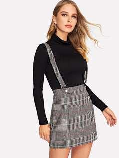 Plaid Pinafore Skirt
