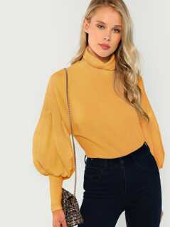 Drop Shoulder Leg-of-mutton Sleeve Solid Pullover