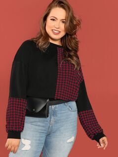 Plus Houndstooth Panel Pullover