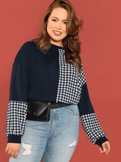 Plus Cut-and-sew Houndstooth Pullover