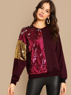 Sequins Contrast Color Block Pullover