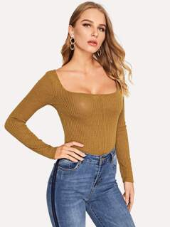 Scoop Neck Ribbed Knit Tee