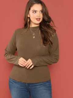 Plus Mock-neck Ribbed Knit Solid Tee