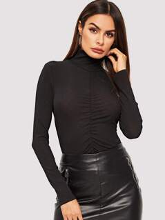 High Neck Ruched Front Top