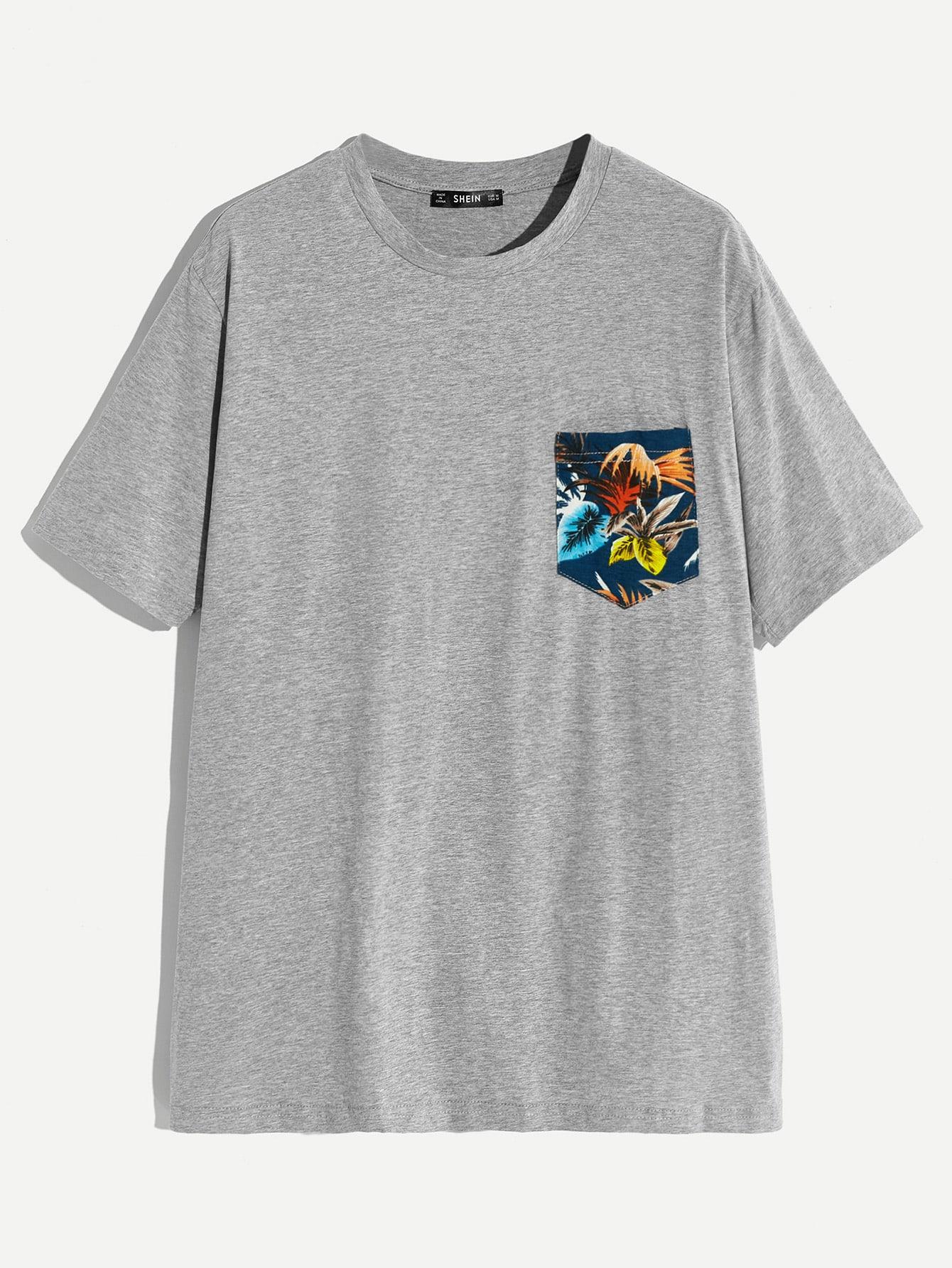 Купить Мужская футболка с тропическим принтом, null, SheIn