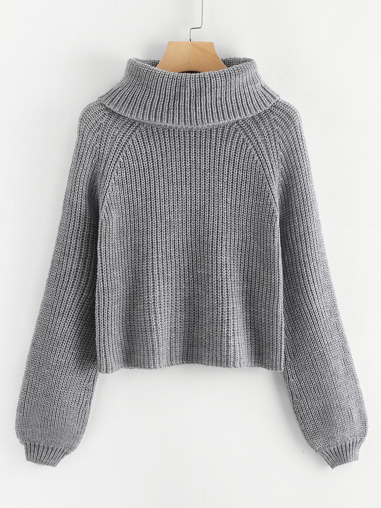 Купить Размер плюс свитер с высоким вырезом и рукавами реглан, null, SheIn