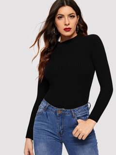 Mock-neck Form Fitted Rib-knit Sweater