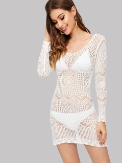 Crochet Cover Up Dress Without Bikini Set