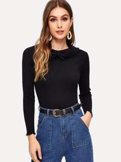 Drawstring Rolled Neck Form Fitted Sweater